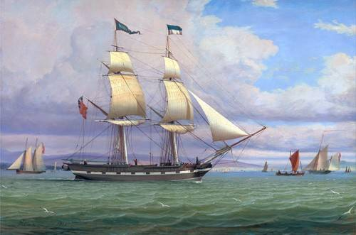 tableaux-de-paysages-marins - Tableau -The English Brig 'Norval' before the Wind, 1833- - Clark, William