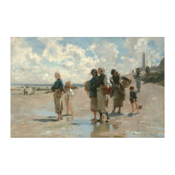 pinturas de paisagens marinhas - Quadro -Fishing for Oysters at Cancale, 1878-