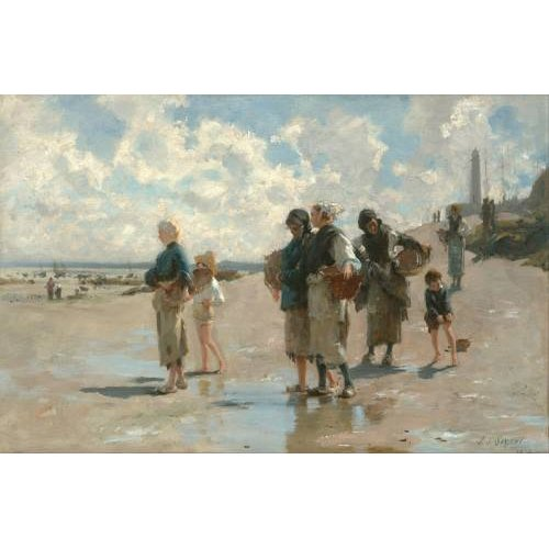 Tableau -Fishing for Oysters at Cancale, 1878-