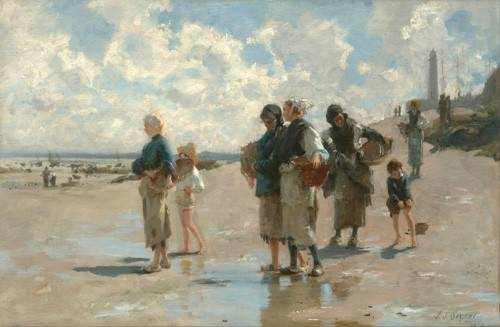 tableaux-de-paysages-marins - Tableau -Fishing for Oysters at Cancale, 1878- - Sargent, John Singer