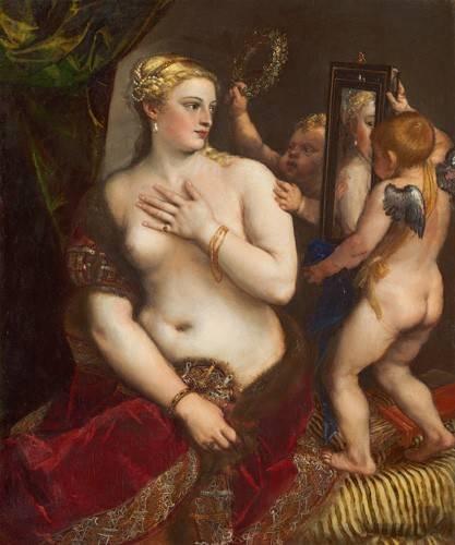 tableaux-de-nus - Tableau -Venus con un espejo- - Tiziano, Tiziano Vecellio