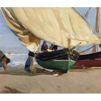 Tableaux de paysages marins - Tableau -Pêcheurs et bateaux échoués, Valence, 1910- - Sorolla, Joaquin