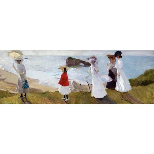 pinturas de paisagens marinhas - Quadro -Paseo del faro, Biarritz, 1906-