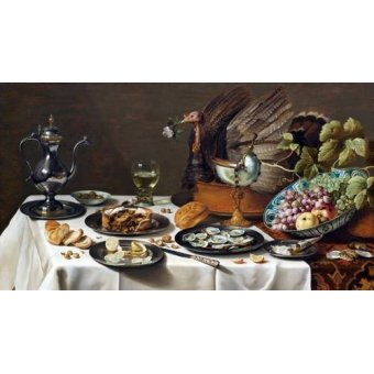 Tableaux nature morte - Tableau -Still Life with Turkey Pie, 1627- - Claesz, Pieter