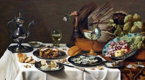 tableaux-nature-morte - Tableau -Still Life with Turkey Pie, 1627- - Claesz, Pieter