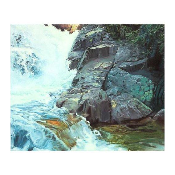 pinturas de paisagens - Quadro -Paisaje con cascada-