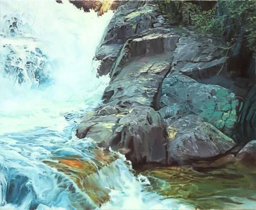 tableaux-de-paysages - Tableau -Paisaje con cascada- - Zamarbide, Federico Garcia