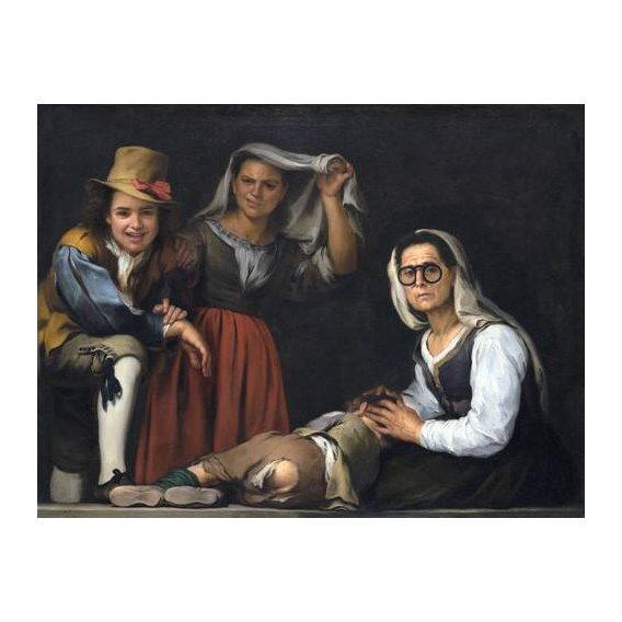 pinturas do retrato - Quadro -Cuatro figuras en un escalon, 1655-