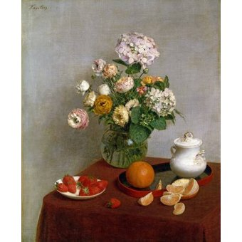 Tableaux nature morte - Tableau -Flowers_and_Fruit, 1866- - Fantin Latour, Henri