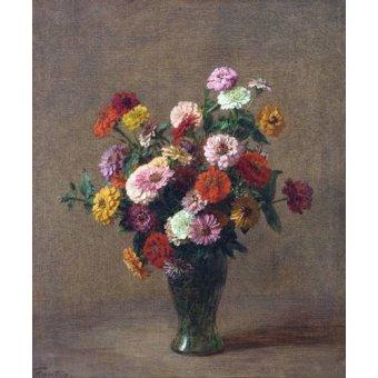 Tableaux de Fleurs - Tableau -Zinnias- - Fantin Latour, Henri