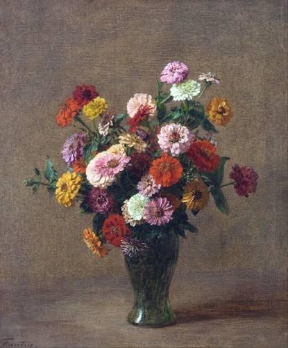 tableaux-de-fleurs - Tableau -Zinnias- - Fantin Latour, Henri