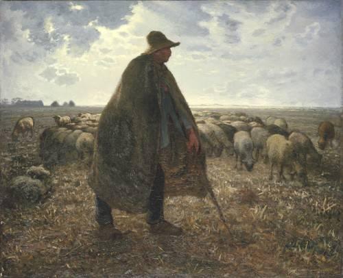 tableaux-de-personnages - Tableau -Berger tendant son troupeau- - Millet, Jean François