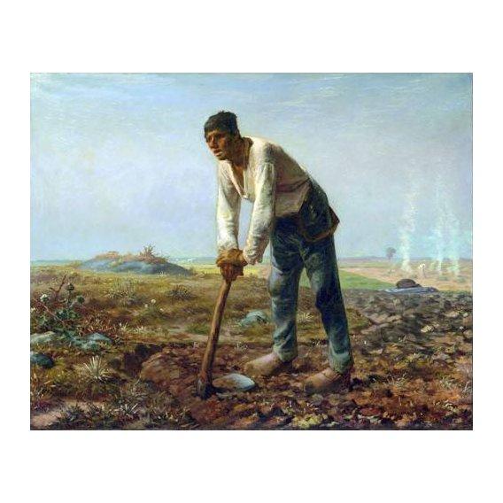 pinturas do retrato - Quadro -Hombre con una azada, 1860-