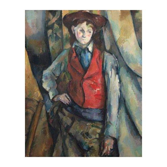 pinturas do retrato - Quadro -Muchacho con chaleco rojo-