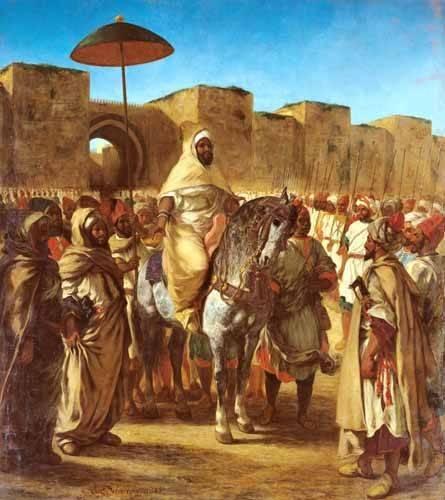 tableaux-de-personnages - Tableau -The Sultan Of Morocco- - Delacroix, Eugene