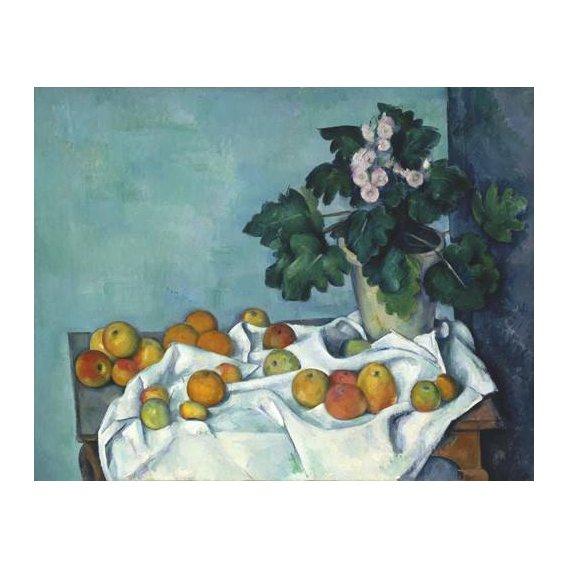 naturezas mortas - Quadro -Still Life with Apples and a Pot of Primroses, 1890-