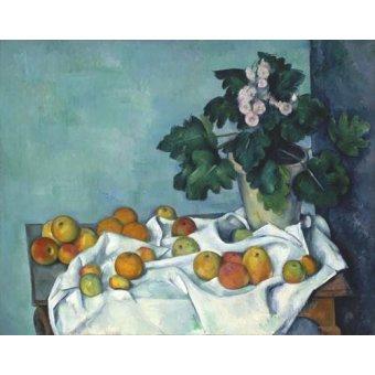 Tableaux nature morte - Tableau - Nature morte aux pommes et au pot de primevères, 1890 - - Cezanne, Paul