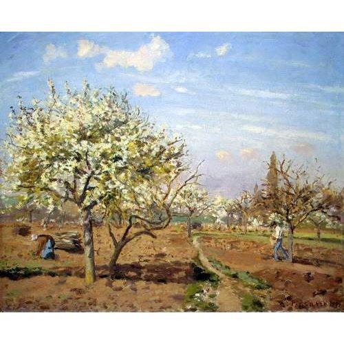 pinturas de paisagens - Quadro -Huerto en Flor (Louveciennes), 1872-