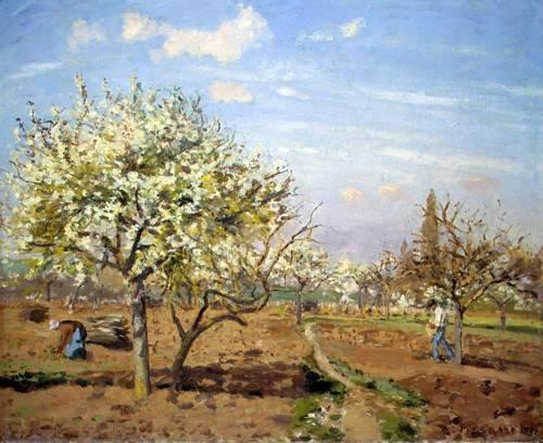 tableaux-de-paysages - Tableau -Huerto en Flor (Louveciennes), 1872- - Pissarro, Camille