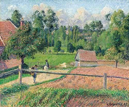 tableaux-de-paysages - Tableau -Vue de la fenêtre de l'artiste (Eragny)- - Pissarro, Camille
