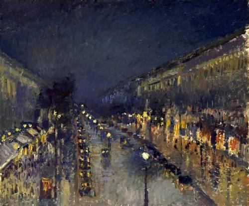 tableaux-de-paysages - Tableau -The Boulevard Montmartre at Night, 1897- - Pissarro, Camille