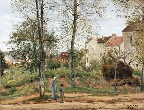 tableaux-de-paysages - Tableau -Maisons à Bougival (automne)- - Pissarro, Camille