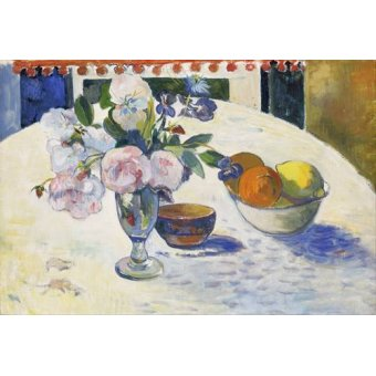 Tableaux nature morte - Tableau -Flowers and a Bowl of Fruit on a Table, 1894- - Gauguin, Paul