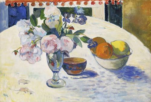 tableaux-nature-morte - Tableau -Flowers and a Bowl of Fruit on a Table, 1894- - Gauguin, Paul