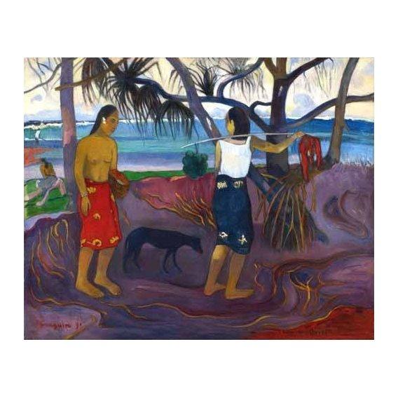 pinturas de paisagens - Quadro -I Raro Te Oviri (Under the Pandanus)-