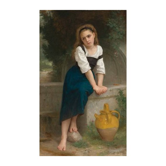 pinturas do retrato - Quadro -Orphan by the Fountain, 1883-