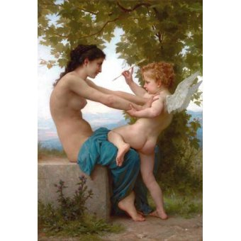 Tableaux de Nus - Tableau -A Young Girl Defending Herself against Eros, 1880- - Bouguereau, William