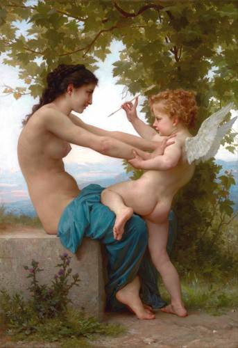 tableaux-de-nus - Tableau -A Young Girl Defending Herself against Eros, 1880- - Bouguereau, William