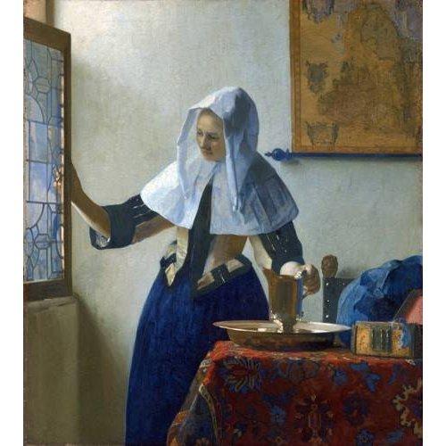 pinturas do retrato - Quadro -Young Woman with a Water Pitcher, 1662-