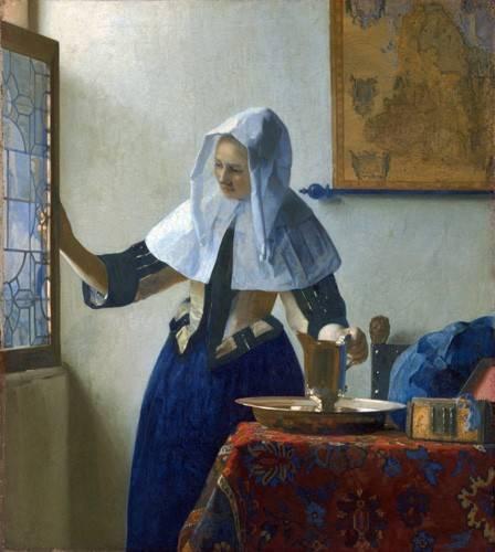 tableaux-de-personnages - Tableau -Jeune femme à l'aiguière, 1662- - Vermeer, Johannes