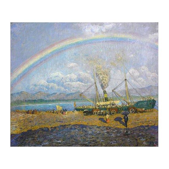 pinturas de paisagens - Quadro -Aguacero en la bahia de Santoña-