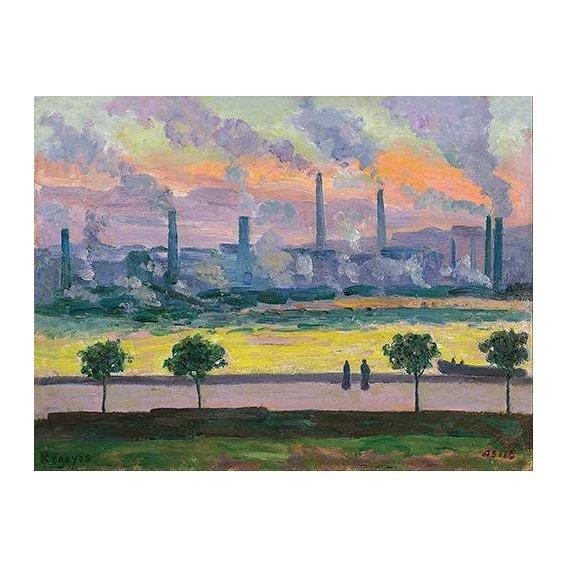 pinturas de paisagens - Quadro -Altos Hornos en Bilbao-