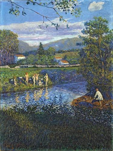 tableaux-de-paysages - Tableau -Baño en Rentería- - Regoyos, Dario de
