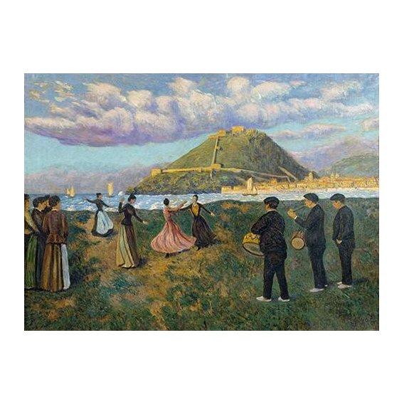 pinturas de paisagens - Quadro -Baile en El Antiguo, San Sebastian-