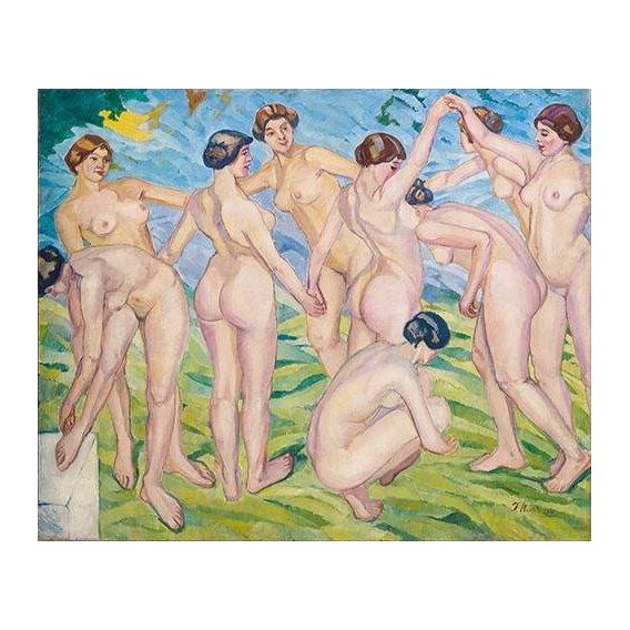pinturas do retrato - Quadro -Desnudo (mujeres bailando en circulo)-