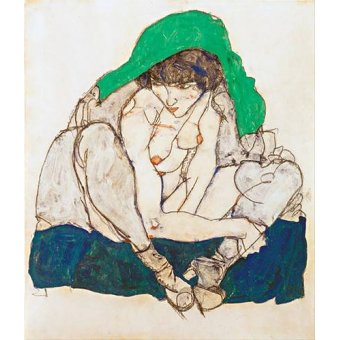 Tableaux de Nus - Tableau -Crouching Woman with Green Headscarf, 1914- - Schiele, Egon