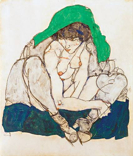 tableaux-de-personnages - Tableau -Crouching Woman with Green Headscarf, 1914- - Schiele, Egon