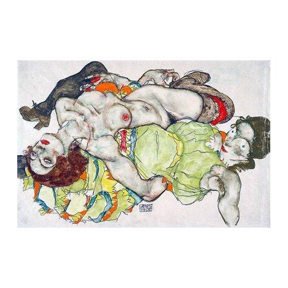 pinturas do retrato - Quadro -Female Lovers, 1915-