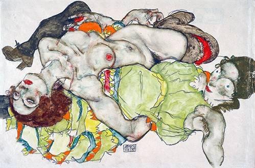 tableaux-de-personnages - Tableau -Female Lovers, 1915- - Schiele, Egon