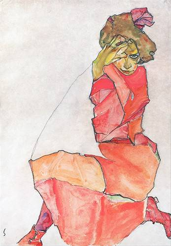 tableaux-de-personnages - Tableau -Kneeling Female in Orange-Red_Dress, 1910- - Schiele, Egon