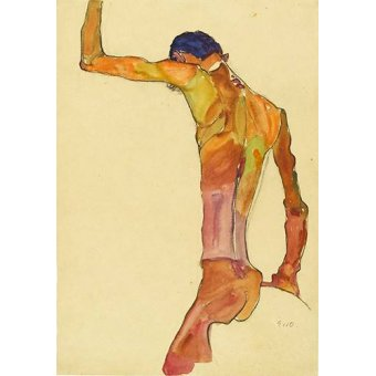 Tableaux de Nus - Tableau -Standing Male Nude with Arm Raised Black View, 1910- - Schiele, Egon