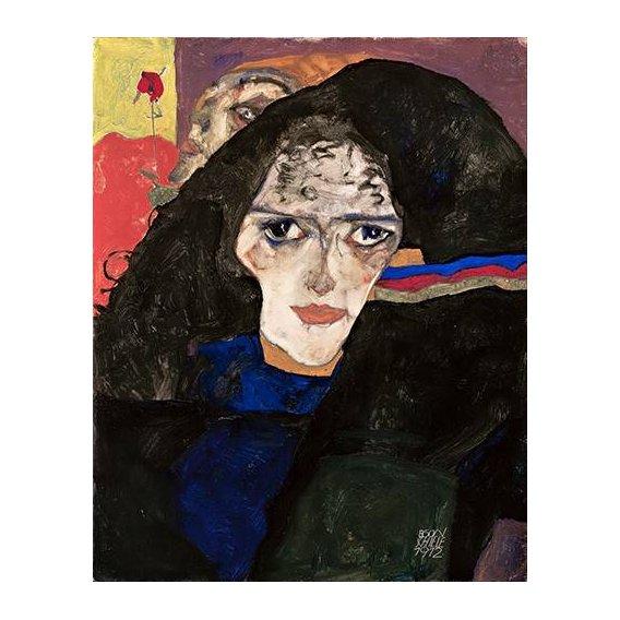 pinturas do retrato - Quadro -Mourning Woman, 1912-