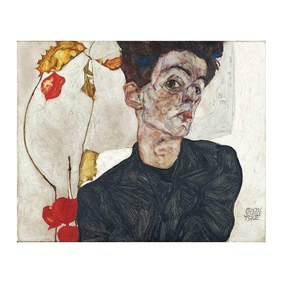 pinturas do retrato - Quadro -Self-Portrait with Physalis-