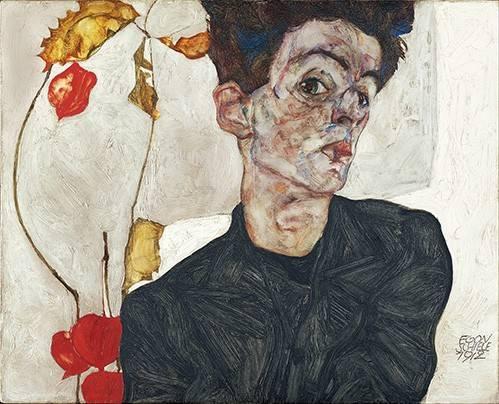tableaux-de-personnages - Tableau -Self-Portrait with Physalis- - Schiele, Egon