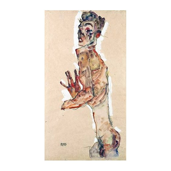 pinturas do retrato - Quadro -Self-Portrait with Splayed Fingers-