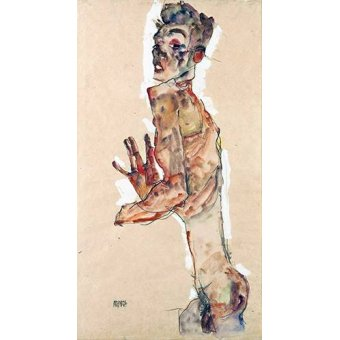 Tableaux de Nus - Tableau -Self-Portrait with Splayed Fingers- - Schiele, Egon